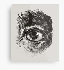 Hairy eyeball is watching you - warm grau Metalldruck