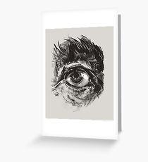 Hairy eyeball is watching you - warm grau Grußkarte