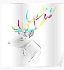 Colorful Wireframe Deer Poster