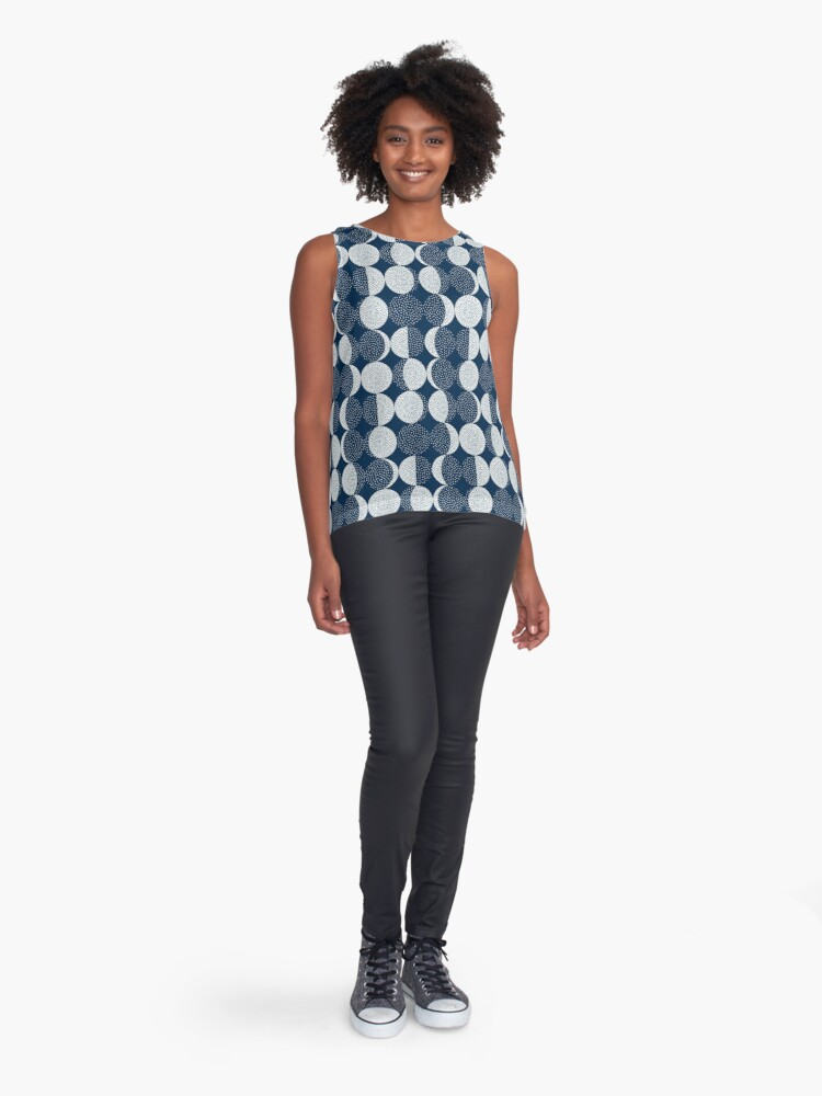 Alternate view of Moon Phases / repeat pattern Sleeveless Top