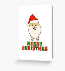Festive Pomeranian Merry Christmas Tee Shirt Greeting Card