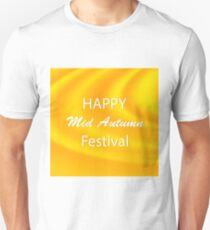 Happy Mid Autumn Modern Wave Yellow Backgound. T-Shirt