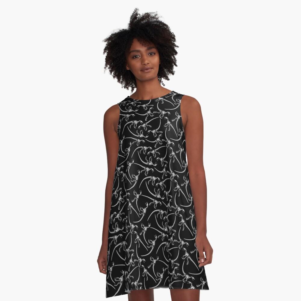 Raptor Skeleton Pattern - White/Black A-Line Dress Front