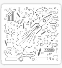 Rocket Icon Isolated on White Background. Concept of Success, Start Up, Initiatives, Team Work. Lines Design Sticker