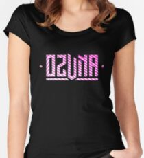 Ozuna Logo Pink White Women's Fitted Scoop T-Shirt