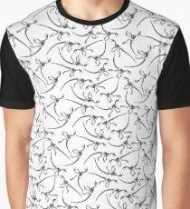 Raptor Skeleton Pattern - Black/White Graphic T-Shirt