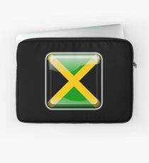 JAMAICA, JAMAICAN, Button, Jamaican Flag, Flag of Jamaica, Caribbean, Island, Pure & Simple, on BLACK Laptop Sleeve