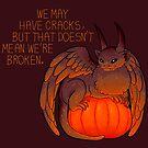 """We May Have Cracks"" Pumpkin Gargoyle by thelatestkate"
