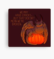 """We May Have Cracks"" Pumpkin Gargoyle Canvas Print"