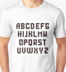 Pixel Alphabet Isolated on White Background. Digital Font T-Shirt