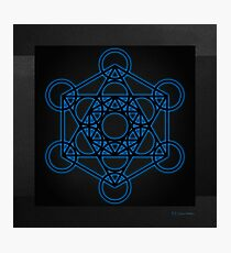 Sacred Geometry - Black Octahedron with Blue Halo over Black Canvas Photographic Print