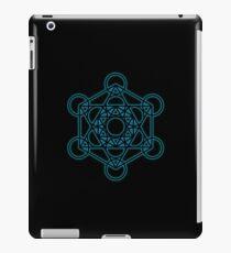 Sacred Geometry - Black Octahedron with Blue Halo over Black Canvas iPad Case/Skin