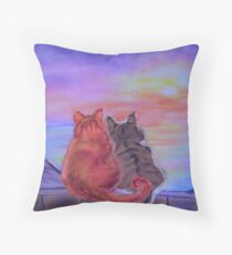 Cats on a roof Throw Pillow