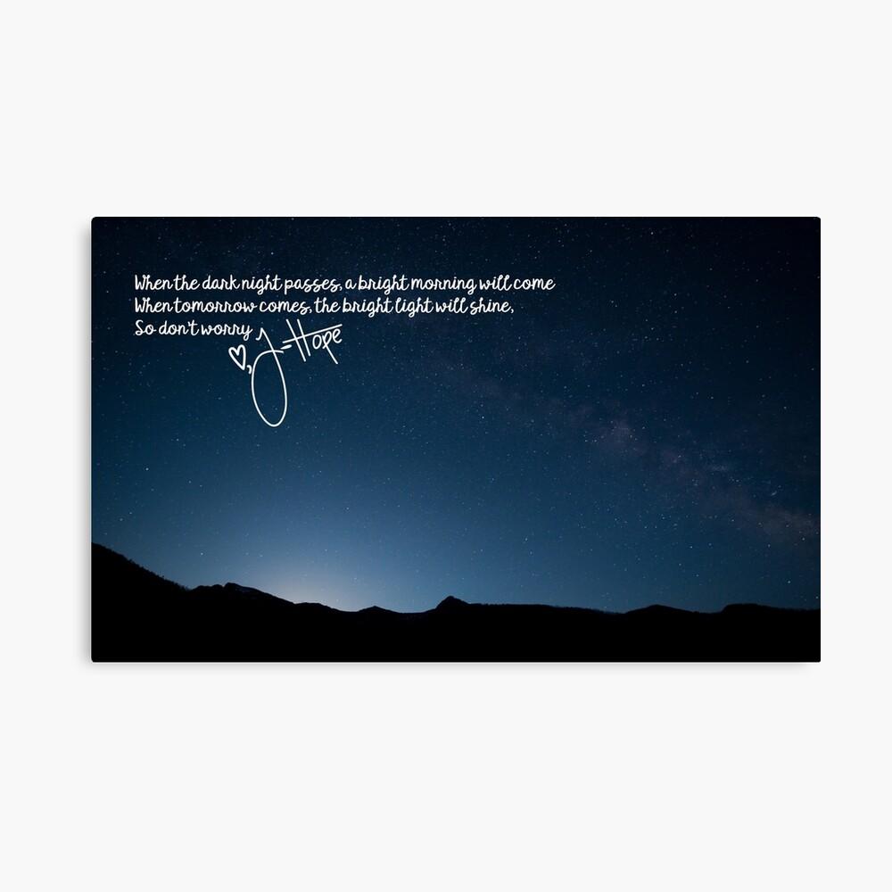 BTS J-Hoffnung Morgen Lyrics Leinwanddruck