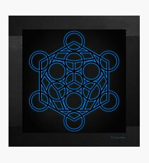 Sacred Geometry - Black Dodecahedron with Blue Halo over Black Canvas Photographic Print