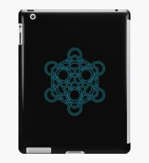 Sacred Geometry - Black Dodecahedron with Blue Halo over Black Canvas iPad Case/Skin