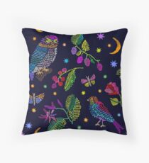 Vintage composition with embroidered fantasy garden. Floor Pillow