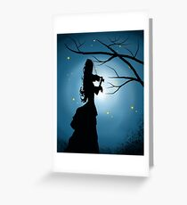 Silhouette, Victorian Lady Playing A Violin Greeting Card