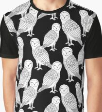 Linocut owl bird black and white minimal nursery pattern gifts birder  Graphic T-Shirt