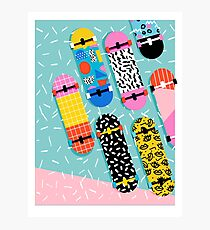 Omigod - 80s retro memphis skateboards pattern sports trendy 1980's vintage style retro Photographic Print