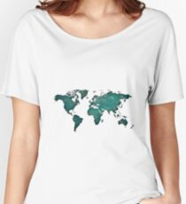 Bluish worldmap over space Women's Relaxed Fit T-Shirt