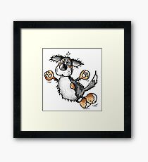 Happy Bernese Mountain Dog - Dogs - Cartoon - Gift - Funny Framed Print