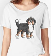 Happy Bernese Mountain Dog - Comic - Dogs - Cartoon - Gift - Funny Women's Relaxed Fit T-Shirt