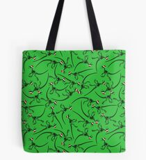 Merry Christmas Raptor - Black w/ Red Hat Tote Bag
