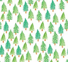 Watercolor Christmas Trees  by Harpley Design Studio