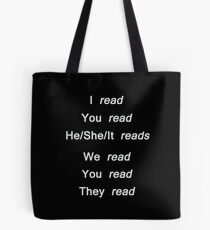 Reading conjugation (white) Tote Bag
