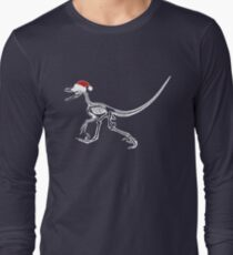 Merry Christmas Raptor - White w/ Red Hat Long Sleeve T-Shirt