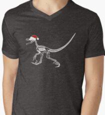 Merry Christmas Raptor - White w/ Red Hat Men's V-Neck T-Shirt