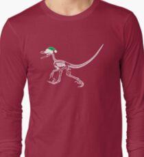 Merry Christmas Raptor - White w/ Green Hat Long Sleeve T-Shirt