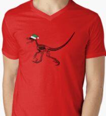 Merry Christmas Raptor - Black w/ Green Hat Men's V-Neck T-Shirt
