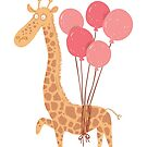 Flying giraffe with pink balloons by VectoryBelle