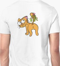 Funny Christmas Cat - Kiss My Butt Mistletoe T-Shirt
