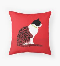 Typographic Sitting Cat 2. on Red Floor Pillow
