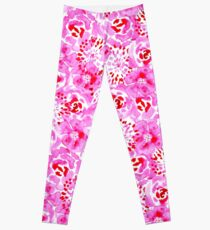 Watercolor Bouquet in Rose Red Pink Leggings