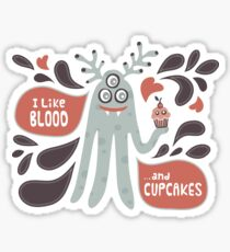 Cute and Creepy Vampire illustration...with a cupcake Sticker