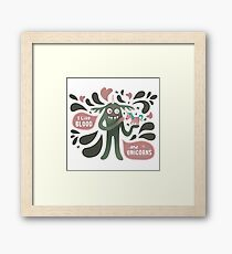 Spooky and cute vampire monster with unicorn Framed Print