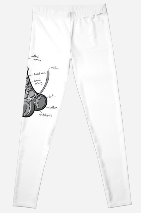 Legging «La anatomía de un pene - escala de grises» de MellyMolly ...