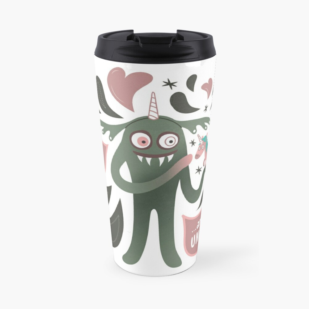 Spooky and cute vampire monster with unicorn Travel Mug