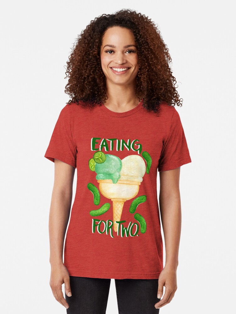 Alternate view of Eating For Two Tri-blend T-Shirt