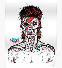 Aladdin Sane - David Bowie Infected Zombie.  Poster
