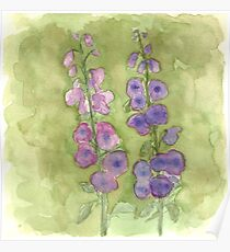 Hollyhock Foxglove Watercolor Muted Tones Poster