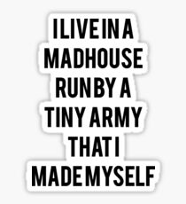 I Live In A Madhouse Funny Mom Quote Sticker