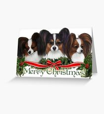 Papillon Merry Christmas Greeting Card