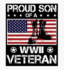Proud Son of a WWII Veteran T-Shirt Photographic Print