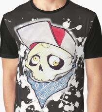 Skull Bandit Graffiti Cartoon Freakz White Splatter Graphic T-Shirt