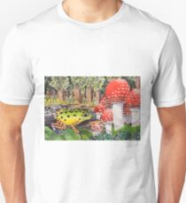 Frog with Mushrooms Watercolor Unisex T-Shirt